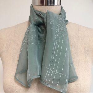 Silk chiffon scarf sea foam green